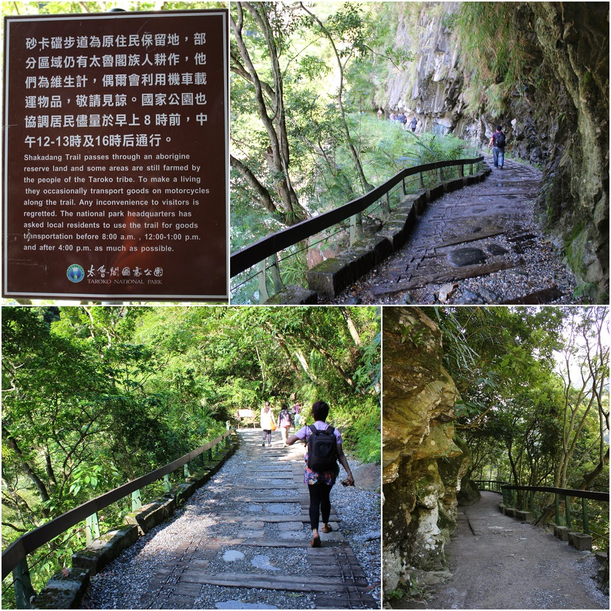 Walking along narrow, steep and uneven path of Shakadang Trail which takes you to the aborigine people of the Taroko Tribe at Taroko Groge National Park in Hualien, Taiwan