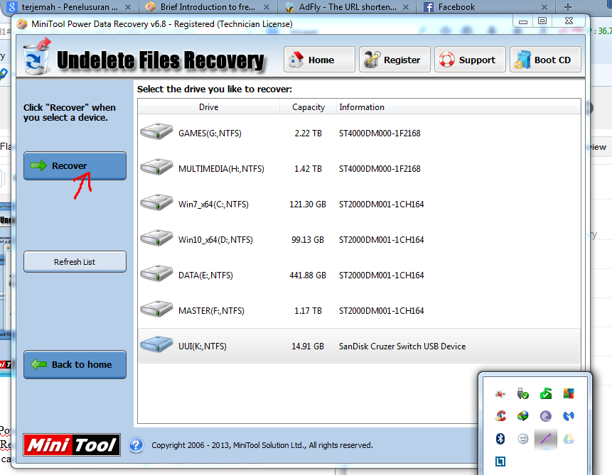 Merecovery Data terformat oleh MiniTool Power Data Recovery 6.8