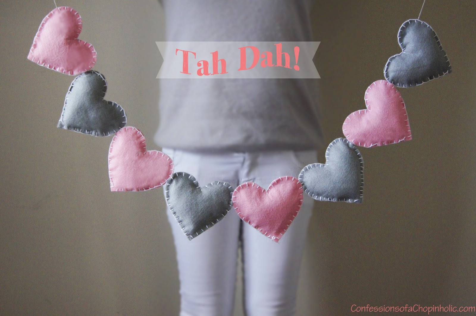 felt heart bunting, stuffed bunting, 3D bunting, puffy heart bunting