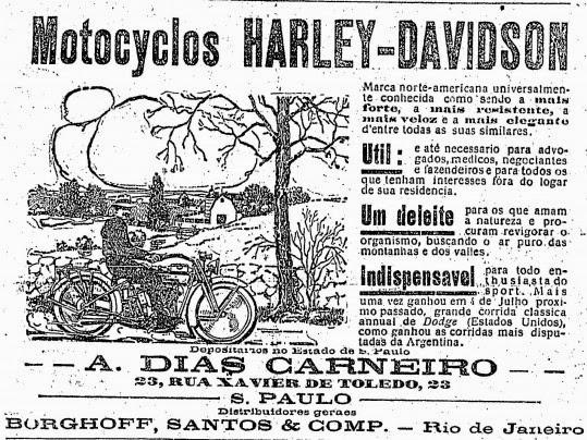 Propaganda da Harley Davidson em 1916.