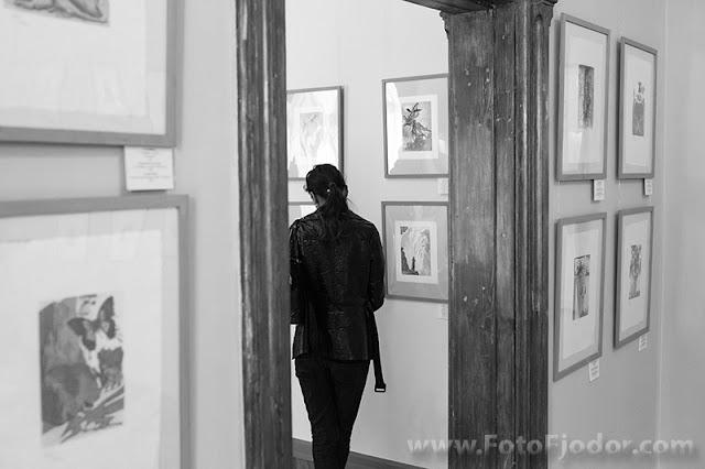 Izstādes apmeklētāja apskatā mākslinieka darbus