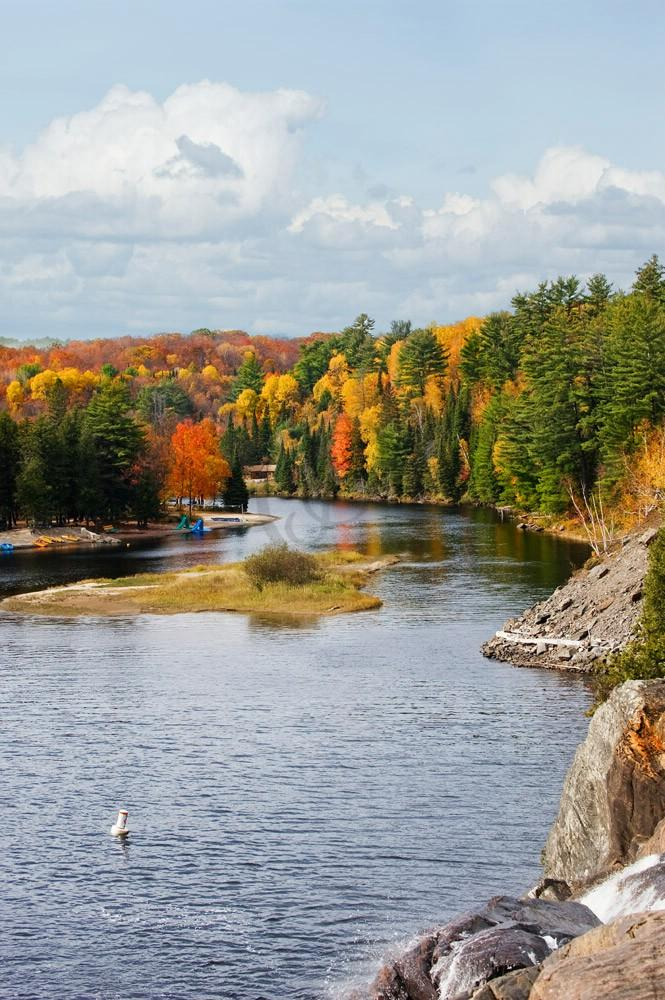 A view of the river as seen from the top of High Falls, Bracebridge.