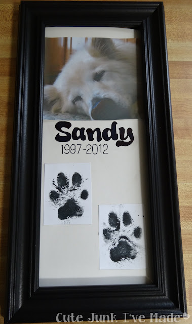 Puppy Print Memorial Frame - Finished Product
