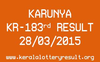 KARUNYA KR 183 Lottery Result 28-3-2015