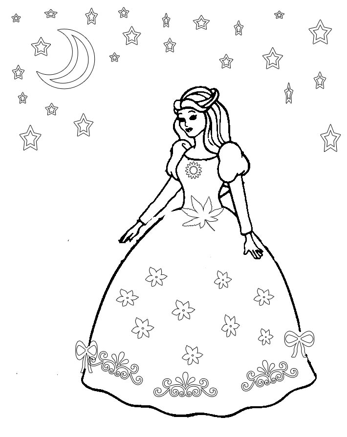 princess gown coloring pages - photo#11