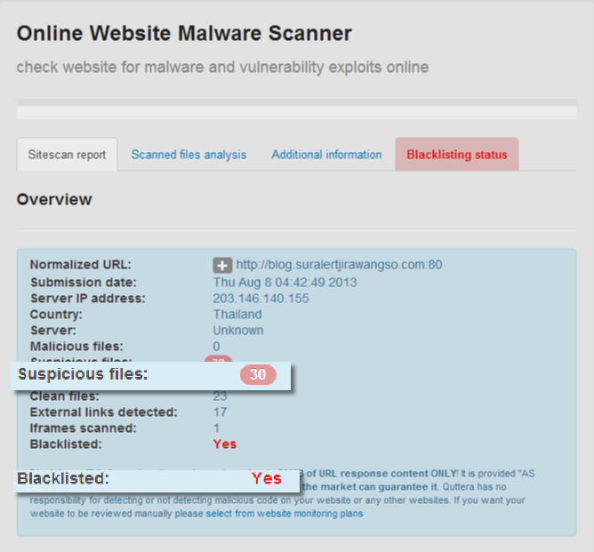 Quttera website malware scanner