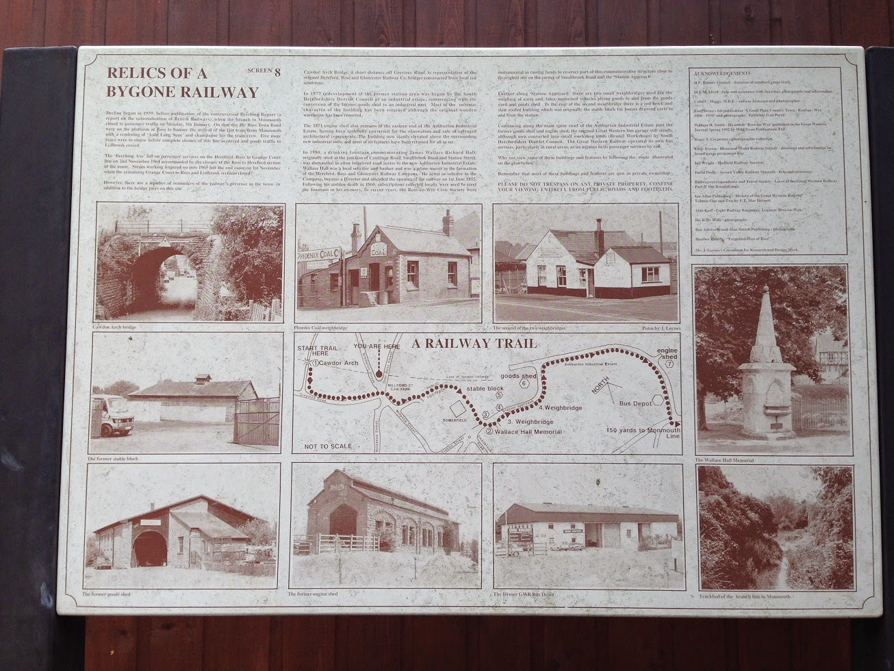 Historical information board for the former Ross and Monmouth Railway, Ross-on-Wye