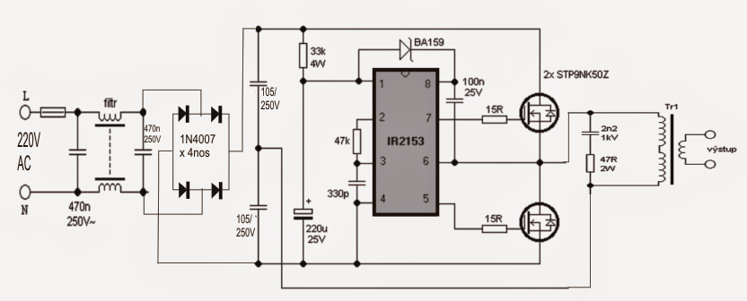 smps halogen lamp transformer circuit
