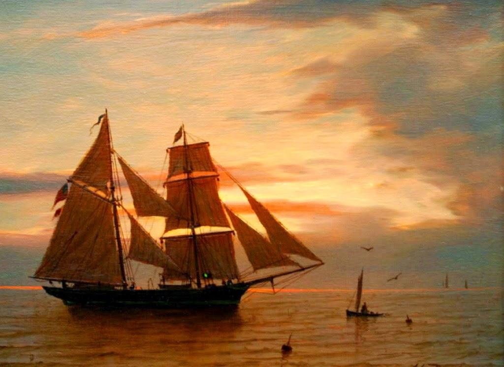 barcos-en-paisajes-marinos-en-atardecer
