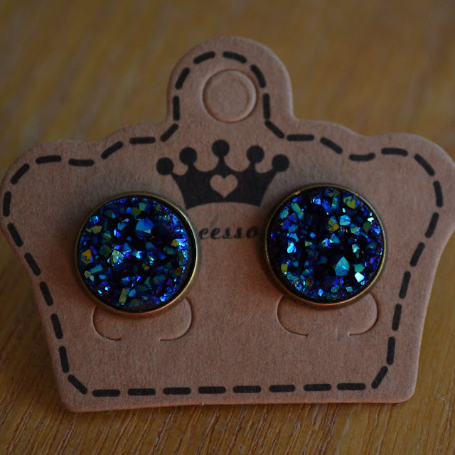 Iridescent Faux Druzy Stud Earrings