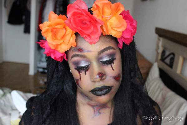 halloween makeup look dead bride