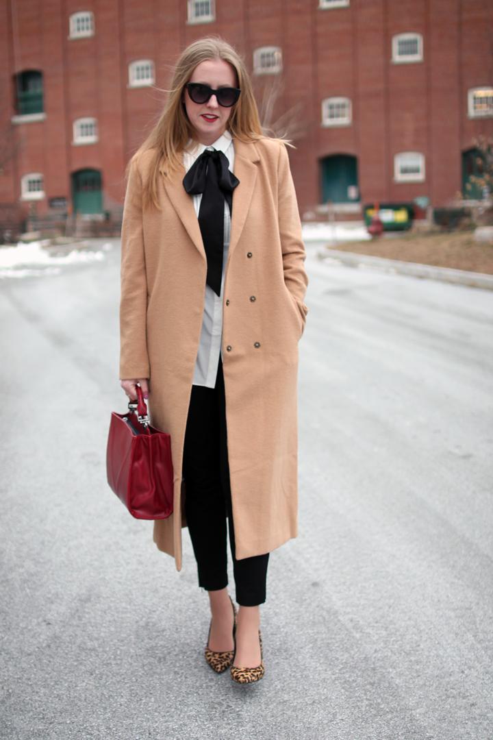 camel longline duster coat, leopard pointy toe pumps, plaid target scarf, boston blogger style, boston fashion blogger, fashion blogger style, forever 21 camel duster coat