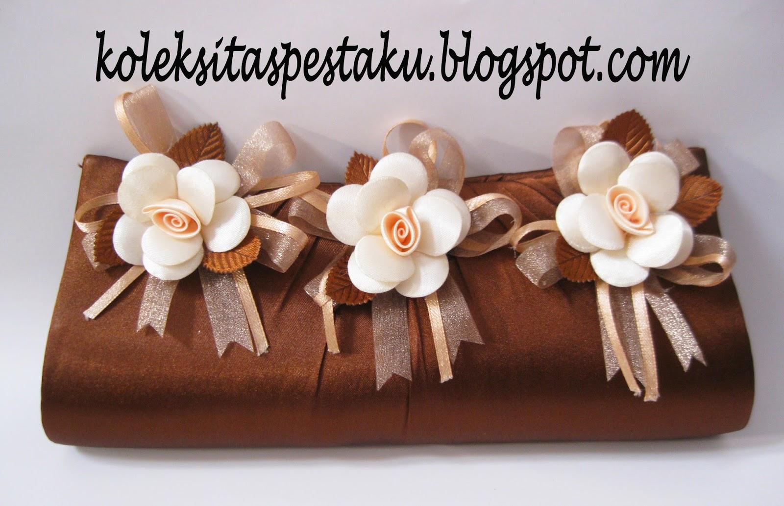Tas Pesta Coklat Model Bunga Tempel