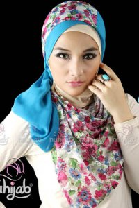 Nuhijab SSB Flower - White Blue (Toko Jilbab dan Busana Muslimah Terbaru)