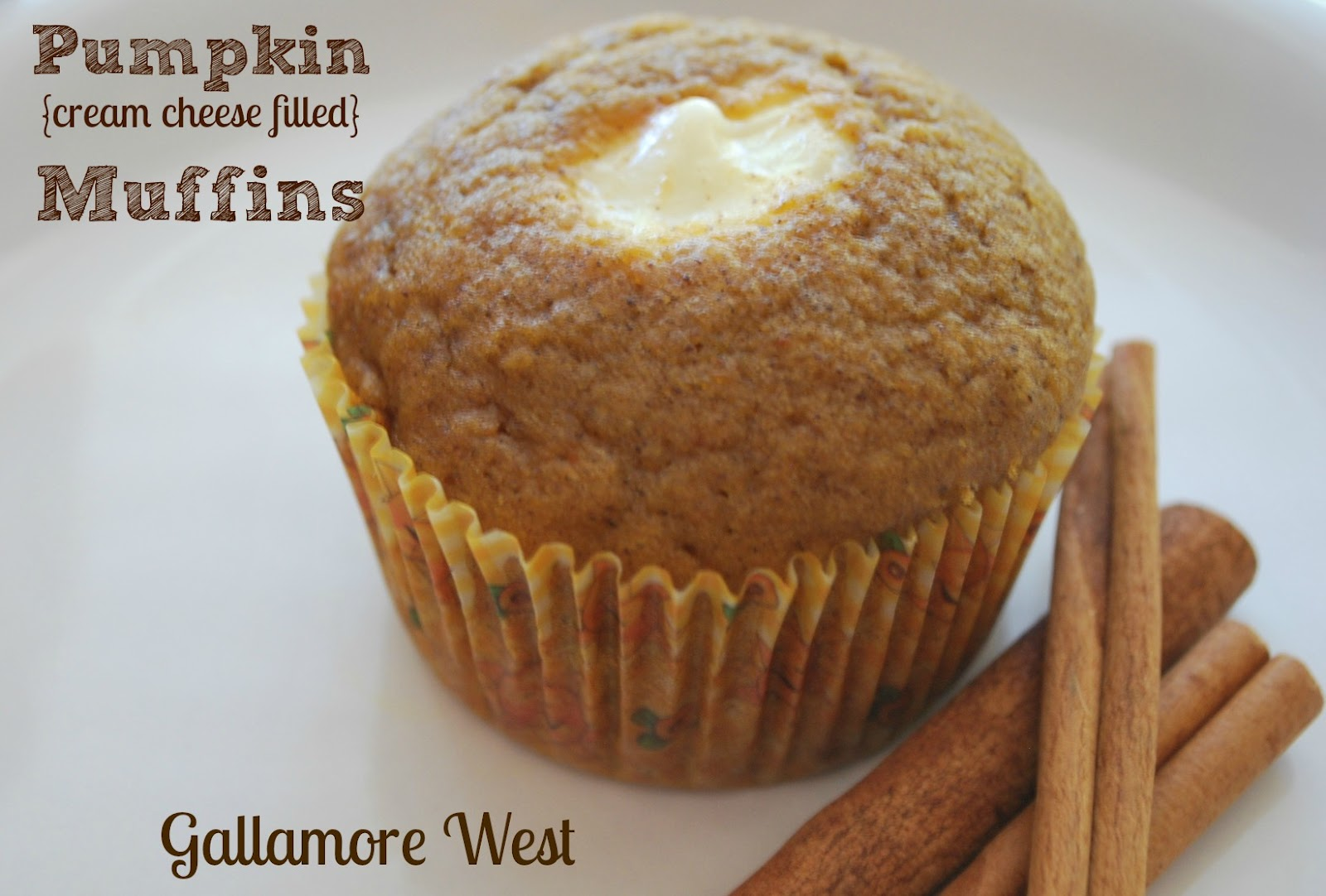 gallamore west: Pumpkin Cream Cheese Filled Muffins