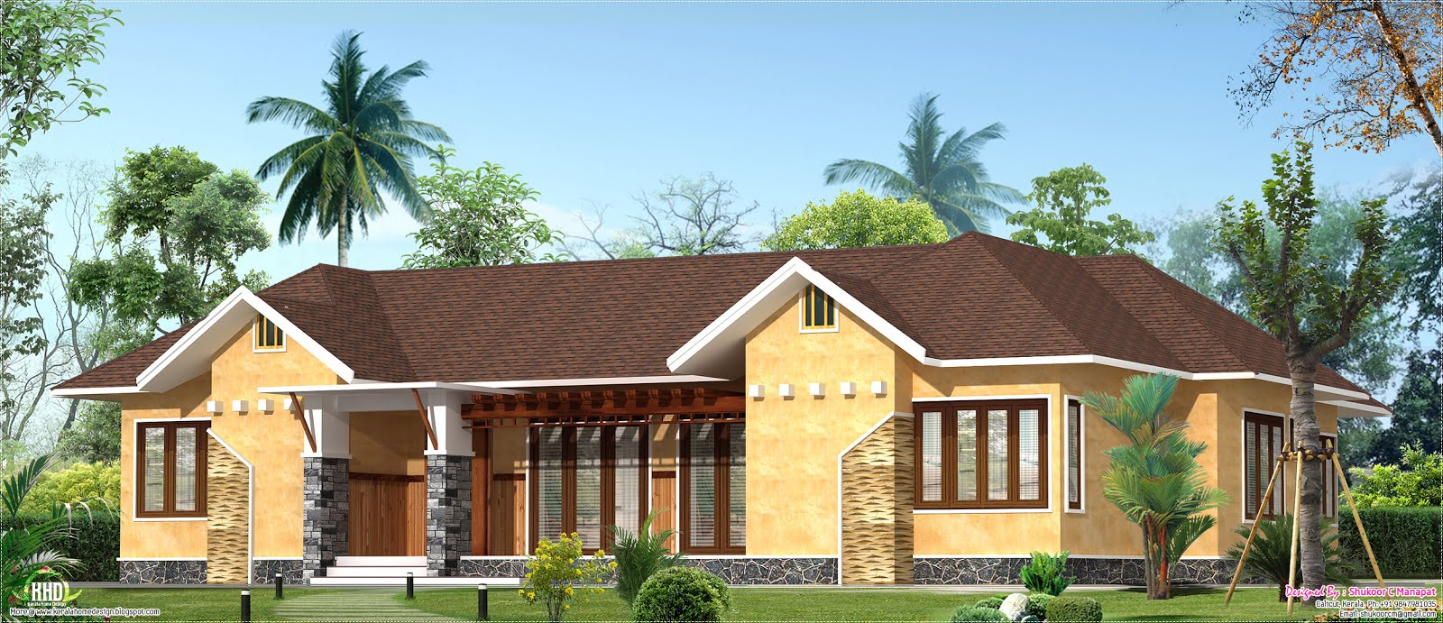 Eco friendly single floor kerala villa house design plans for Earth friendly home designs