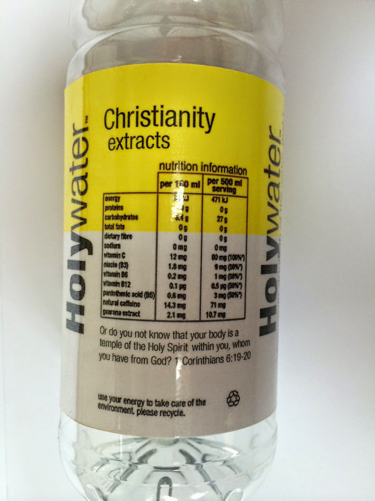 Final Major Project: Holy Water Bottle Label design Vitamin Water Bottle Label