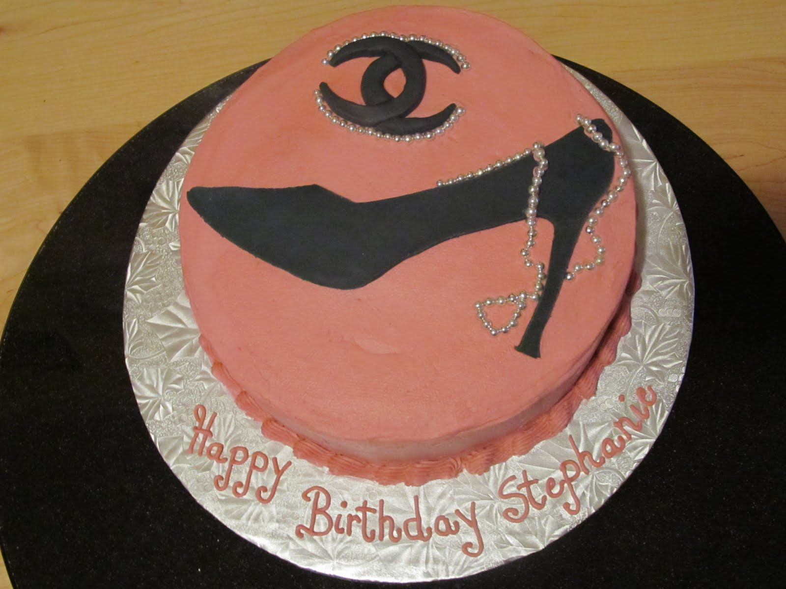 Cake Designs by Steph: Chanel logo & Silhouette of Shoe Cake!