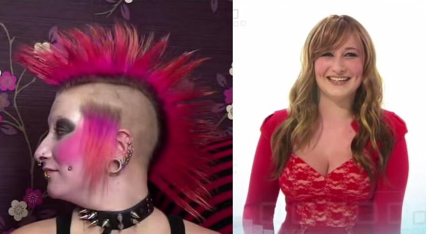 超パンクロッカーの女性が化粧を落としたら…スーパー変身!