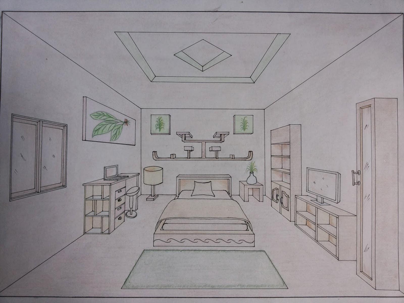 interior ruang tamu satu titik hilang perspektif satu