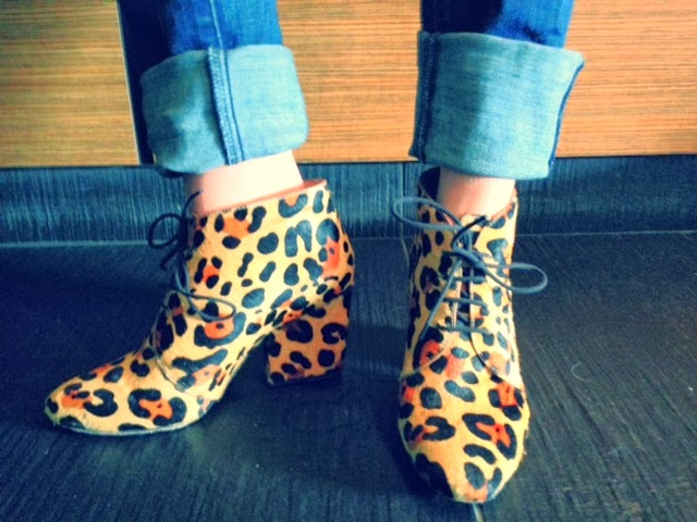 J brand jeans, cuffing jeans, rolling up your jeans, cuffing pants and wearing heels, Kate Spade calf hair leopard booties, cheetah print shoes, leopard heels, cheetah boots, animal print heels