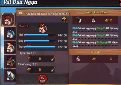 Hướng dẫn tham gia Vui Đua Ngựa trong game Lãng Khách