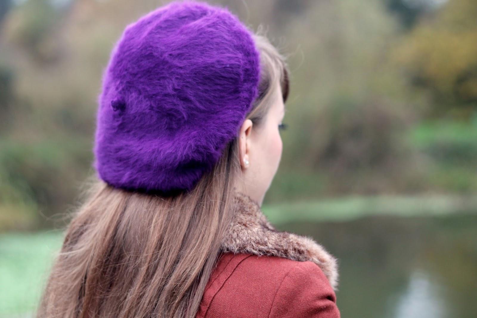 Fluffy purple beret