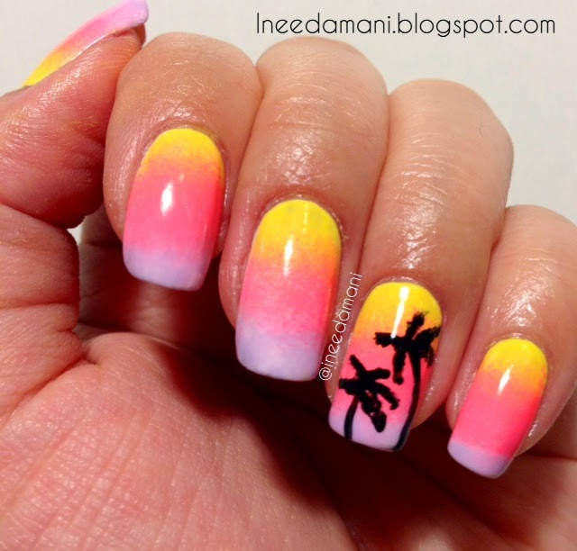 sunset and palm trees nails inspired by sonailcious