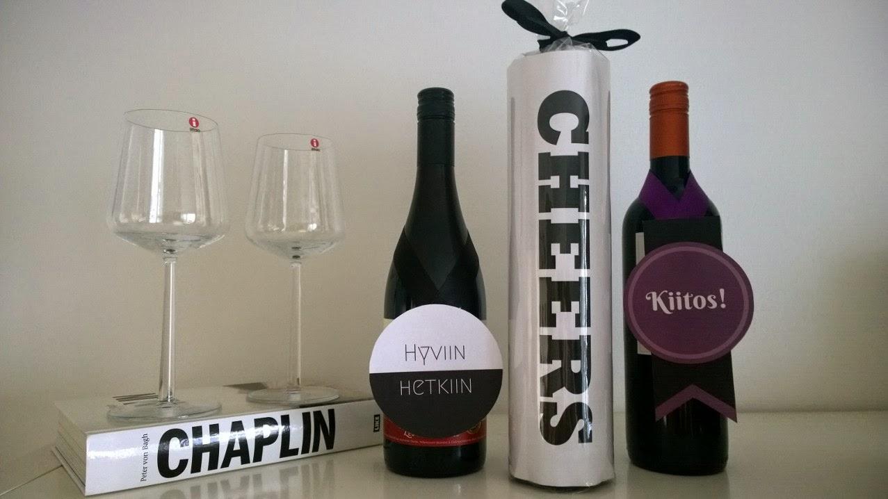 Kaikki paketissa viinipullon paketointi pullokortti paketointi-idea