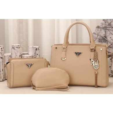 PRADA DESIGNER BAG (3 IN 1 SET) - KHAKI