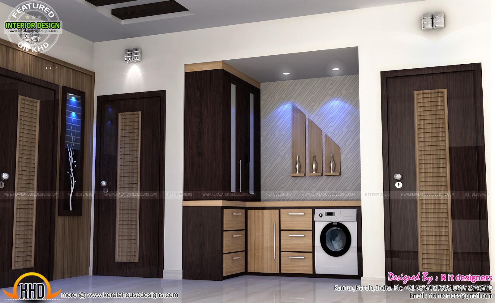 Study Room Modern Kitchen Living Interior Kerala Home
