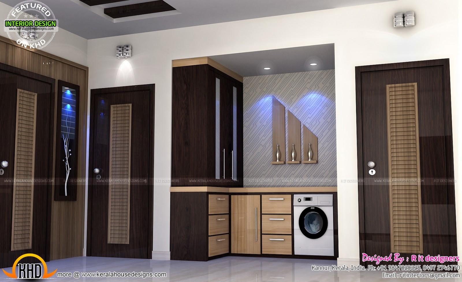 Study room modern kitchen living interior kerala home for Kitchen design in tamilnadu