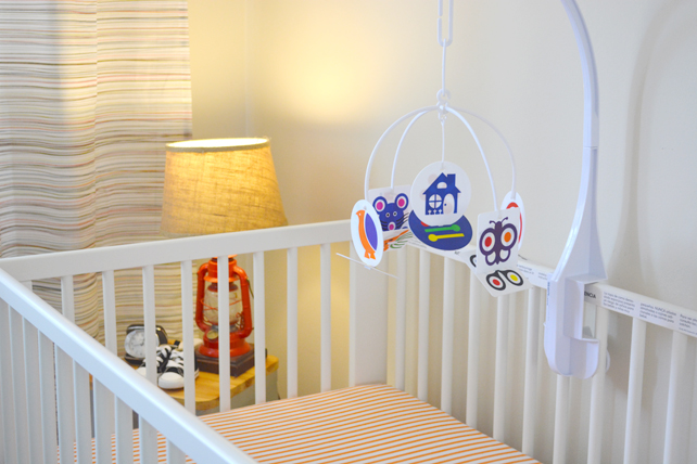 Ford's Baby Boy Nursery Crib and Mobile - Interior Design by Lesley Myrick, Pasadena Interior Designer