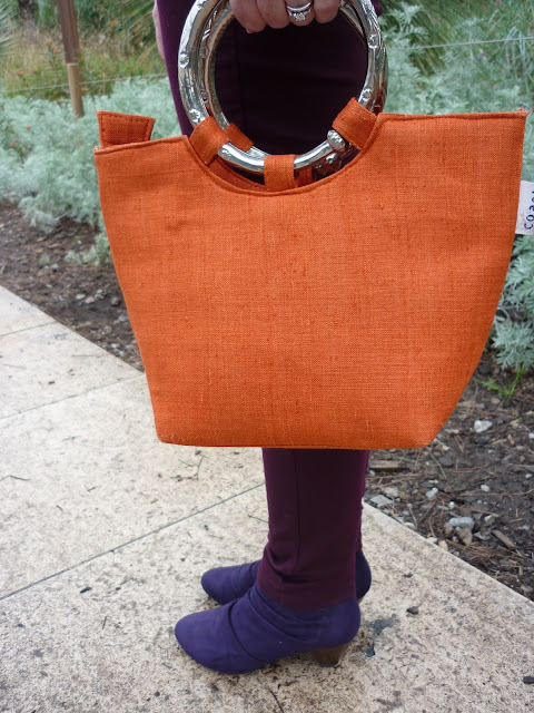 M&S Purple Suede Boots, Petite Dorothy Perkins Wine Jeans, Coast Orange Bag | Petite Silver Vixen