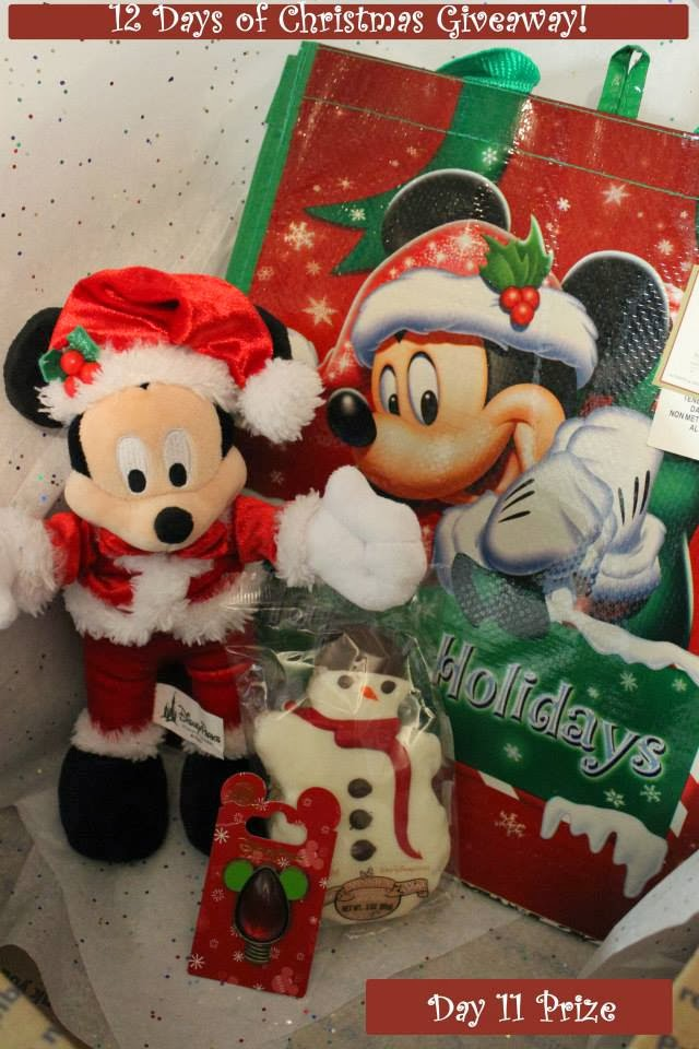 day 11 prize a christmas gift box including a reusable tote santa mickey mouse plush snowman christmas rice crispy and a christmas bulb disney pin - Disney 12 Days Of Christmas