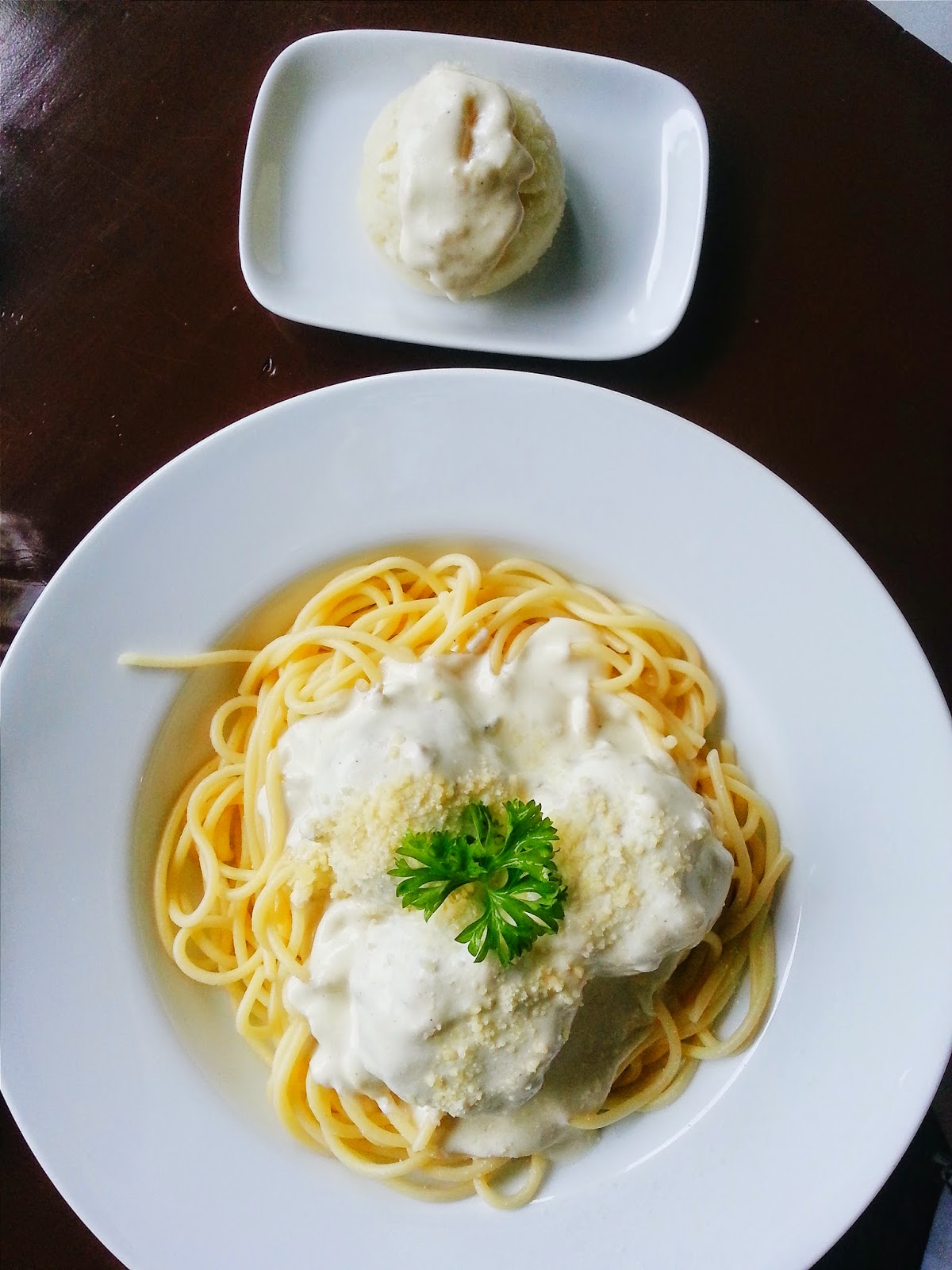 beef balls pasta with cream sauce polpetta