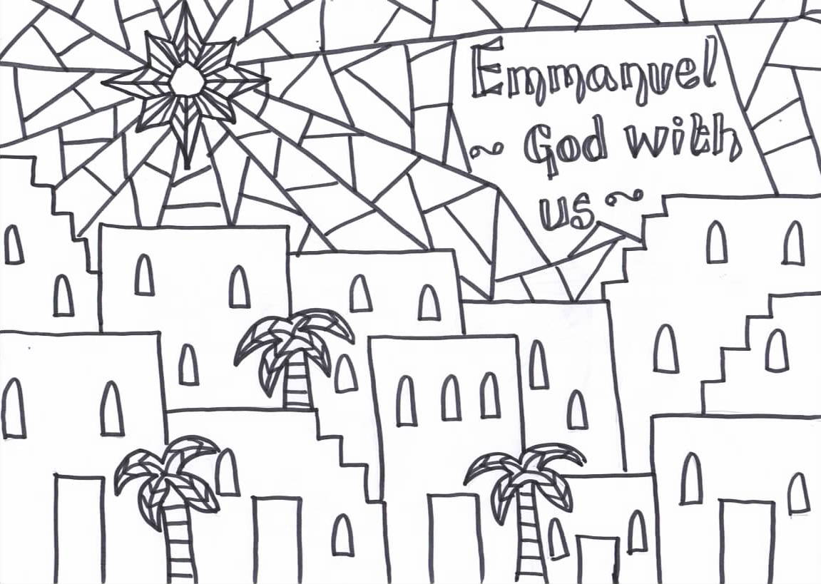 Colouring pages for epiphany - Emmanuel God With Us Printable Christmas Reflective Colouring Sheet