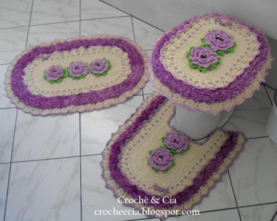Croche e Cia Jogos de Banheiro em Crochê -> Jogo De Banheiro Simples Croche