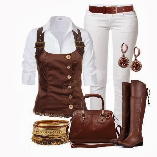 White shirt, brown jacket, white pants, brown handbag and long boots for fall