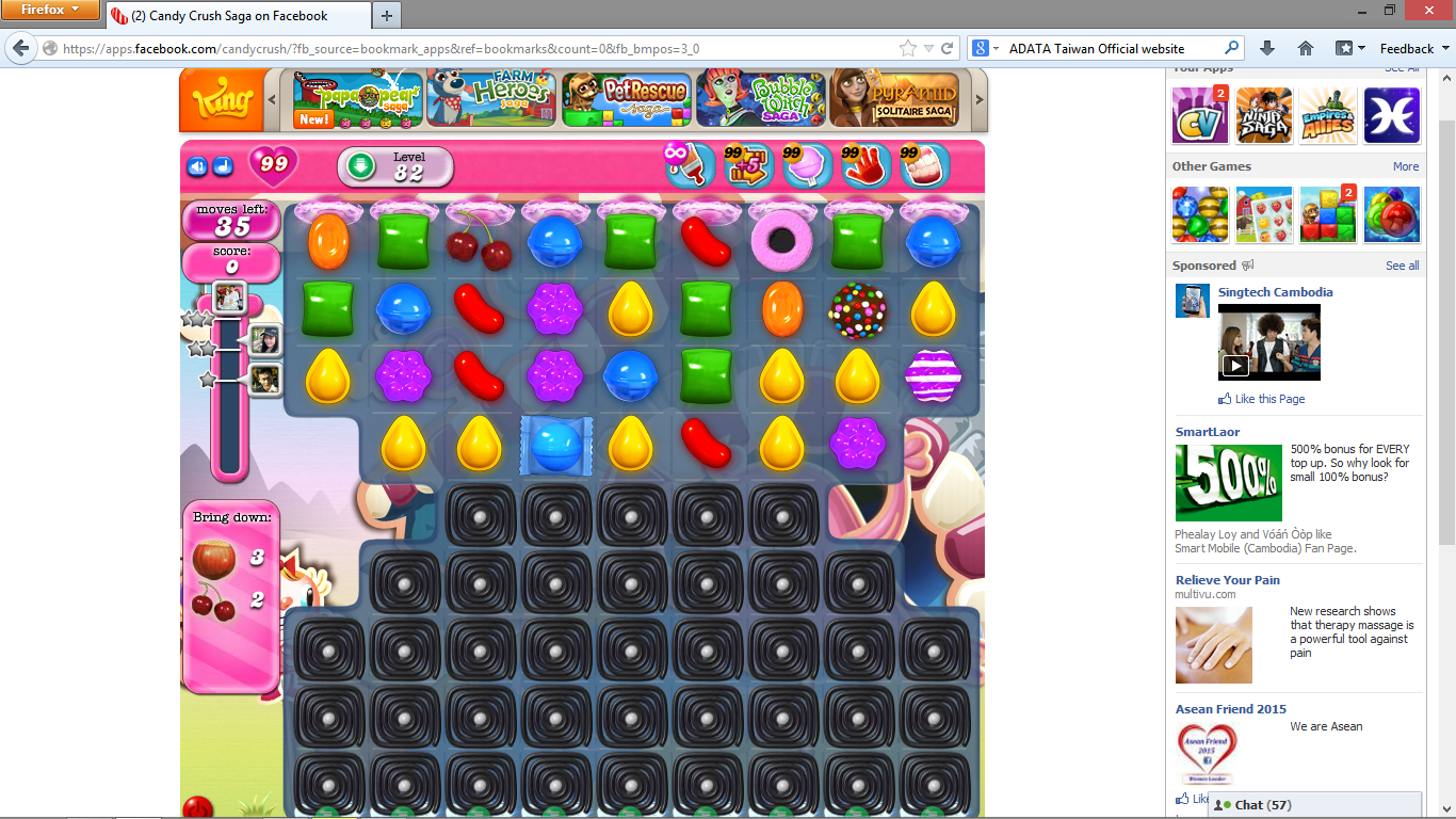 Hack Candy Crush Saga by using Firefox extension