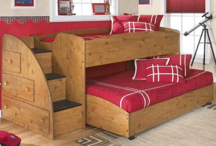 tempat tidur anak model minimalis tingkat bahan kayu jati