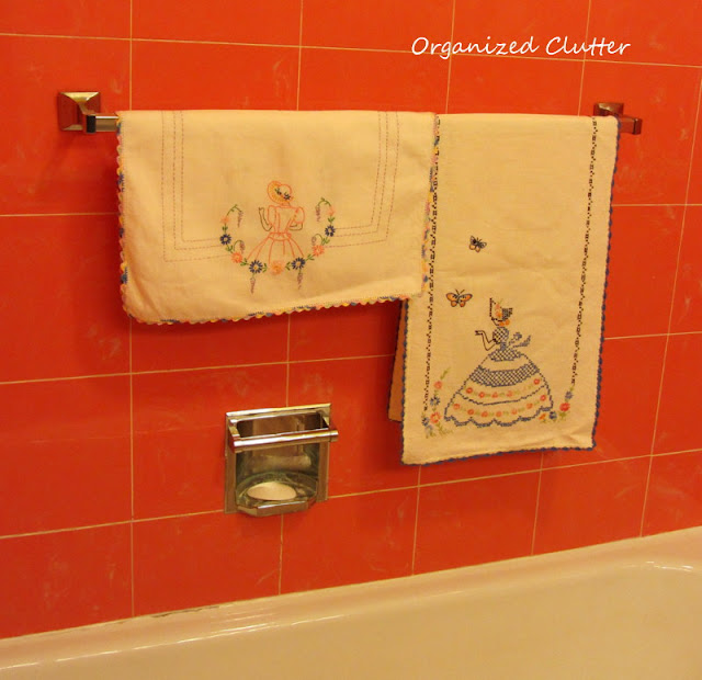 Vintage Linens in the Bathroom