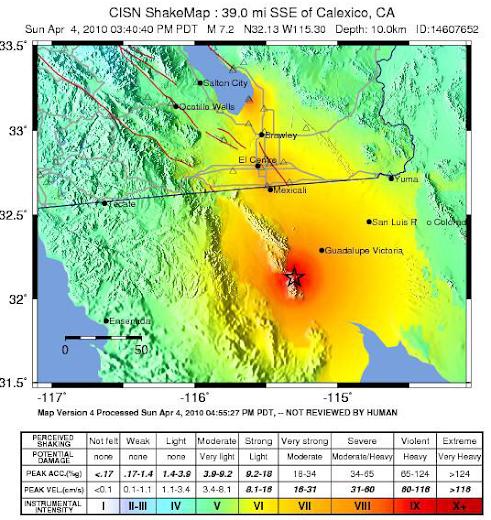 Mapa de Terremoto en Mexicali USGS