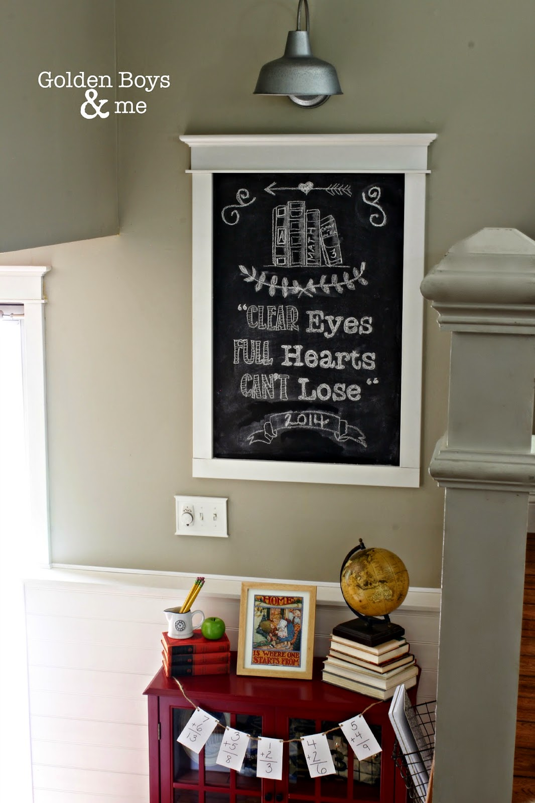 """Back to school chalkboard with Friday Night Lights quote """"Clear Eyes, Full Hearts, Can't Lose"""" with Lowe's portfolio galvanized light"""
