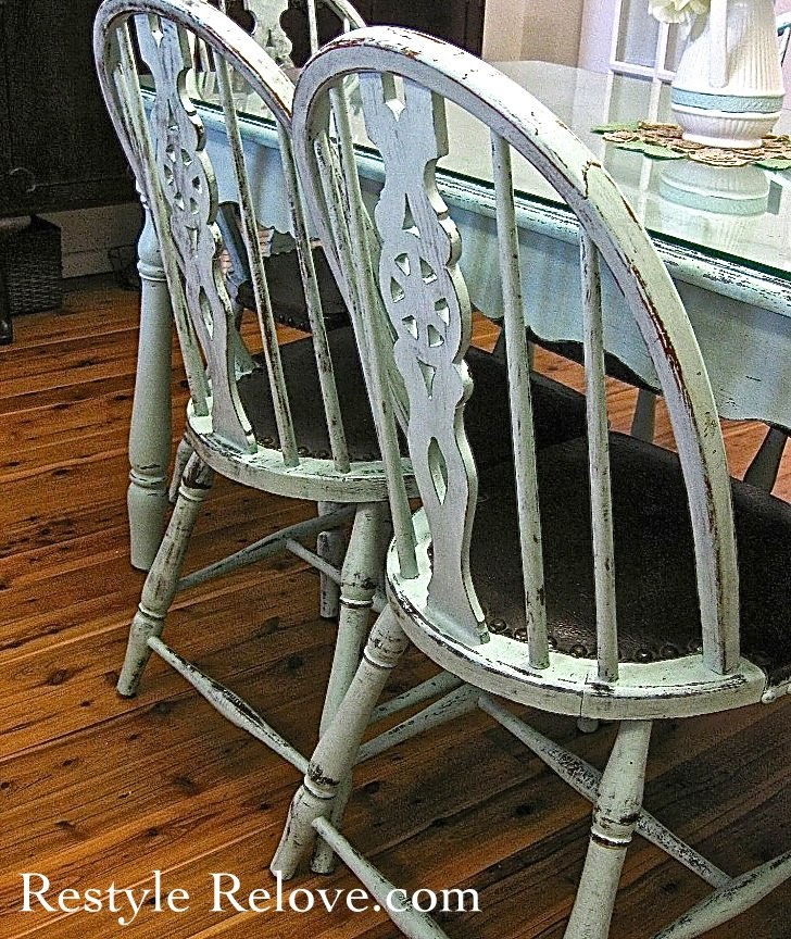 Farmhouse Style Vintage Green Dining Table & Chairs