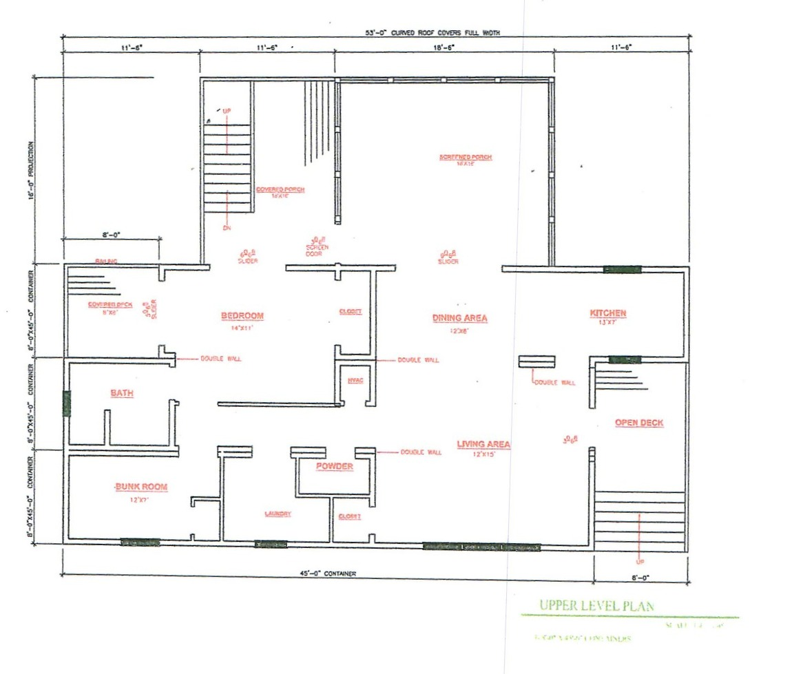 Floor plan for the Container Home shown in the photos above