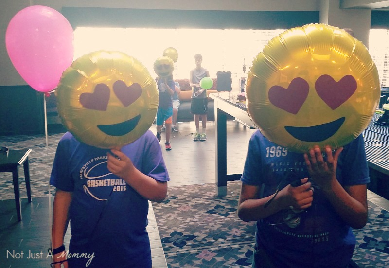Emoji Graduation Party smiling balloons