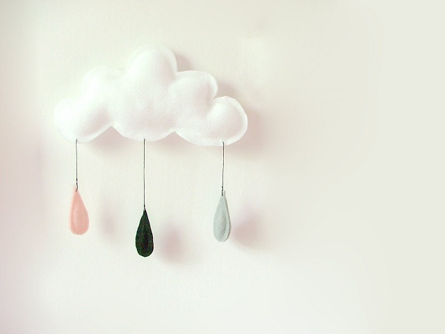 cloud mobile on white wall