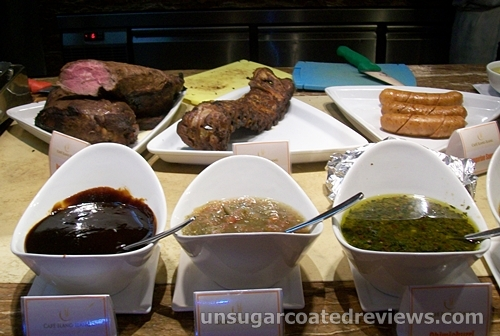 steak, ribs, and sausage with Churrasco sauces
