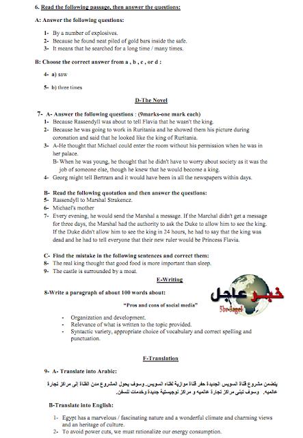مراجعة ليلة الامتحان للغة الانجليزية بالثانوية العامة 2015 اسئلة واجوبة وتوزيع الدرجات